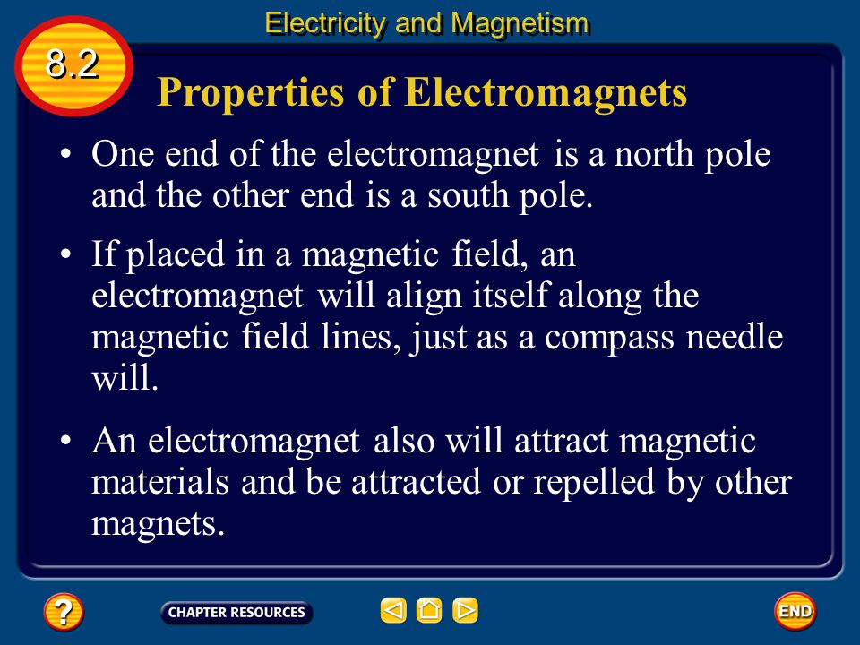 Properties of Electromagnets Electromagnets are temporary magnets because the magnetic field is present only when current is flowing in the solenoid.