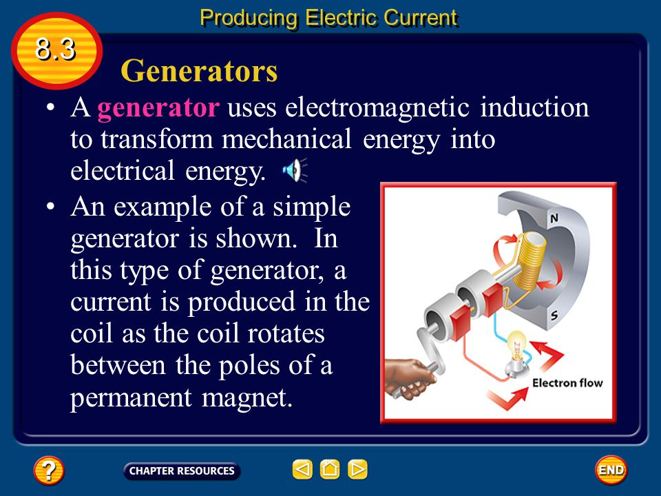 From Mechanical to Electrical Energy The magnet and wire loop must be moving relative to each other for an electric current to be produced. This cause