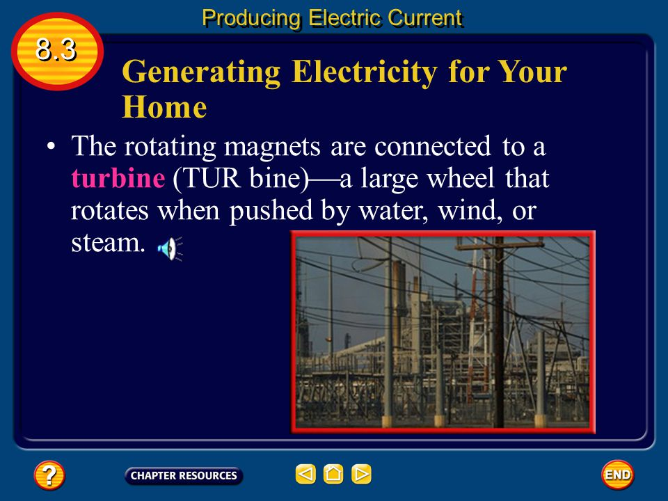 Generating Electricity for Your Home Electrical energy comes from a power plant with huge generators. The coils in these generators have many coils of
