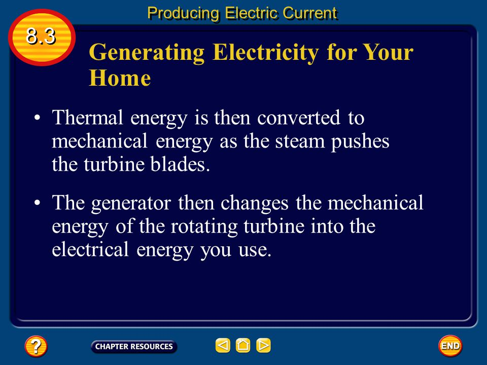 Generating Electricity for Your Home Some power plants first produce thermal energy by burning fossil fuels or using the heat produced by nuclear reac