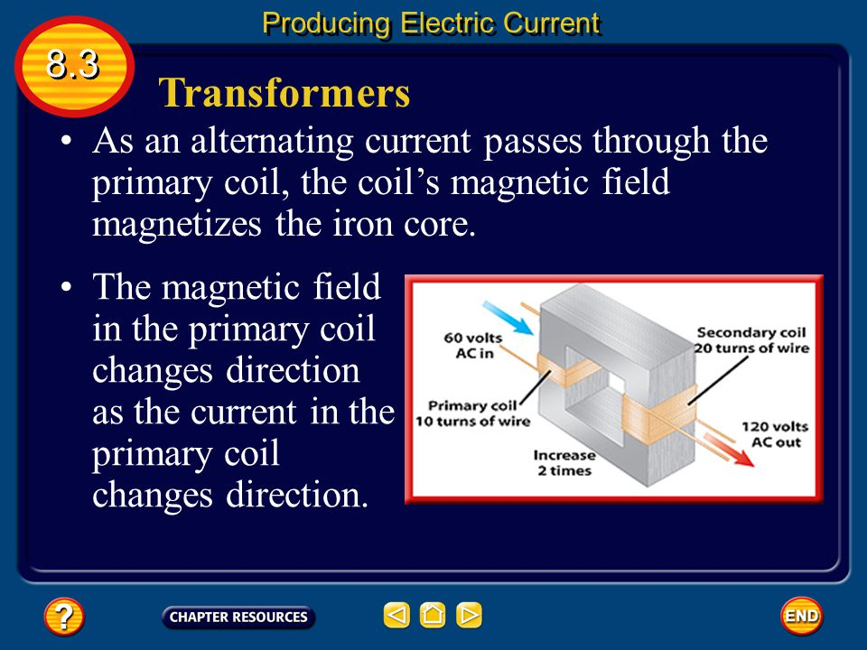 Transformers 8.3 Producing Electric Current A transformer is a device that increases or decreases the voltage of an alternating current. A transformer