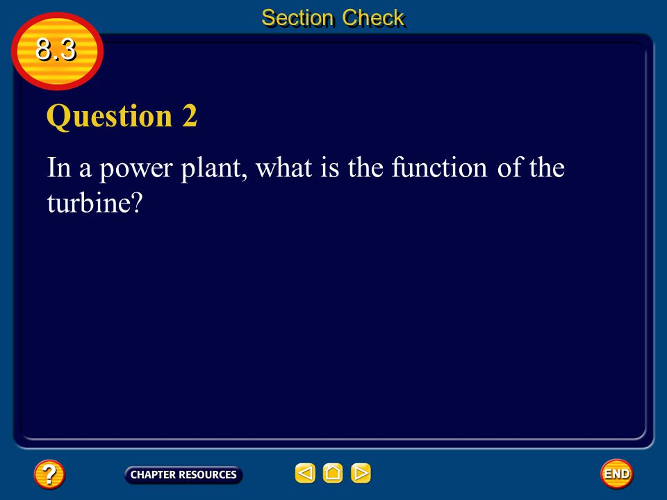 8.3 Section Check Question 1 What is electromagnetic induction? Electromagnetic induction is the generation of a current by a changing magnetic field.
