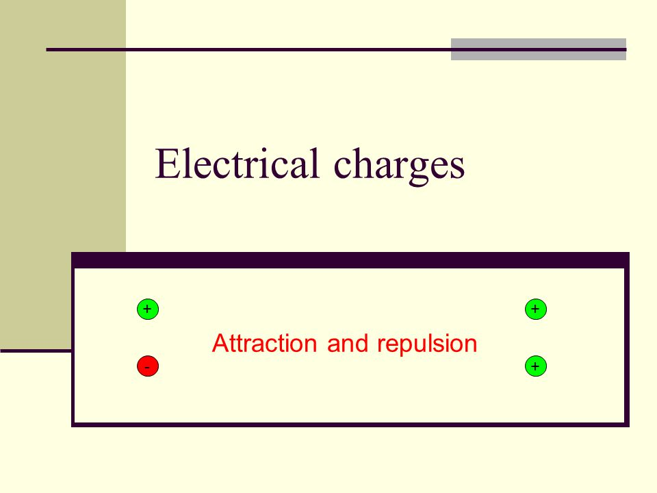 Electrical charges Attraction and repulsion + + + -