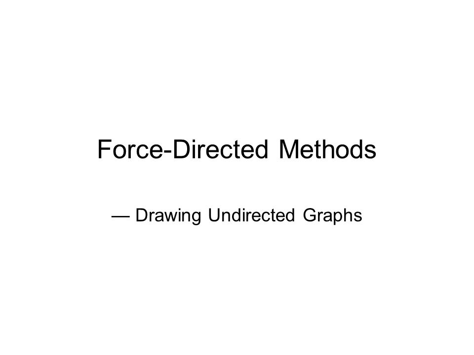 Force-Directed Methods — Drawing Undirected Graphs
