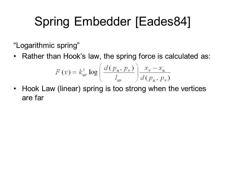 Spring Embedder [Eades84] Logarithmic spring Rather than Hook's law, the spring force is calculated as: Hook Law (linear) spring is too strong when the vertices are far