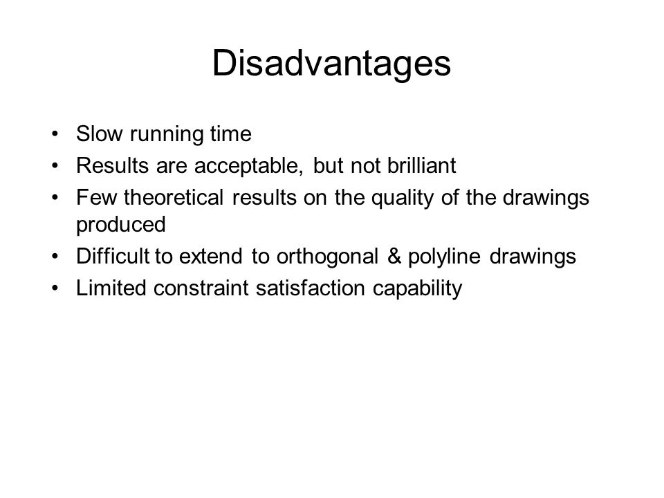 Disadvantages Slow running time Results are acceptable, but not brilliant Few theoretical results on the quality of the drawings produced Difficult to extend to orthogonal & polyline drawings Limited constraint satisfaction capability