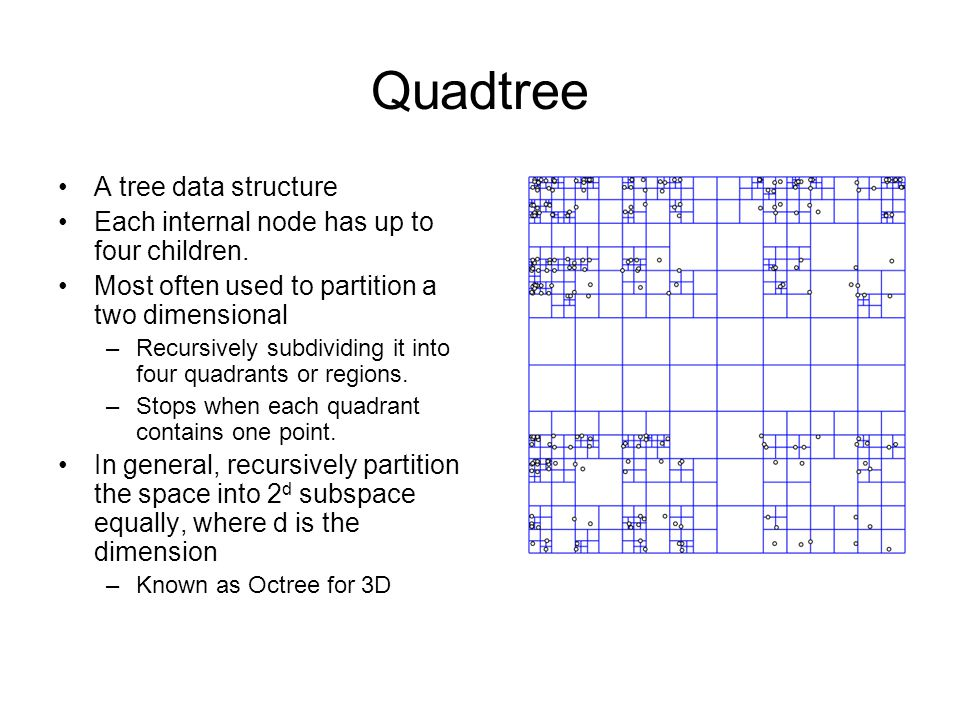 Quadtree A tree data structure Each internal node has up to four children. Most often used to partition a two dimensional –Recursively subdividing it