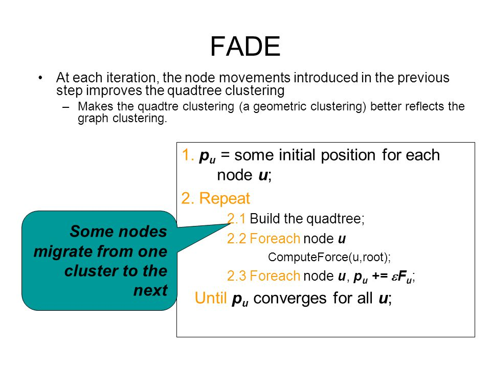 FADE At each iteration, the node movements introduced in the previous step improves the quadtree clustering –Makes the quadtre clustering (a geometric clustering) better reflects the graph clustering.