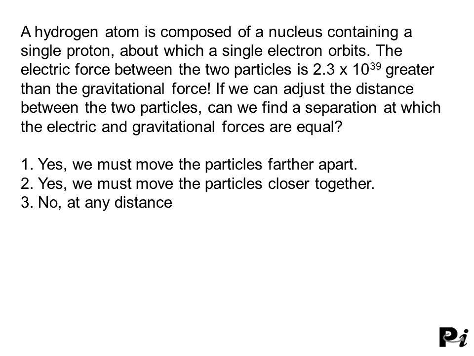 A hydrogen atom is composed of a nucleus containing a single proton, about which a single electron orbits.