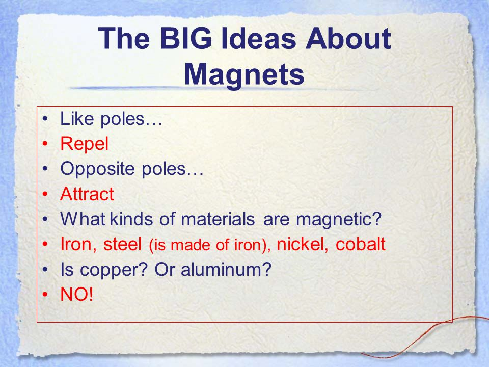 Magnetism Wrap-Up Let's return to our original ideas and questions that we had about magnetism before this unit- Slide 4 Can we now answer any of these questions.