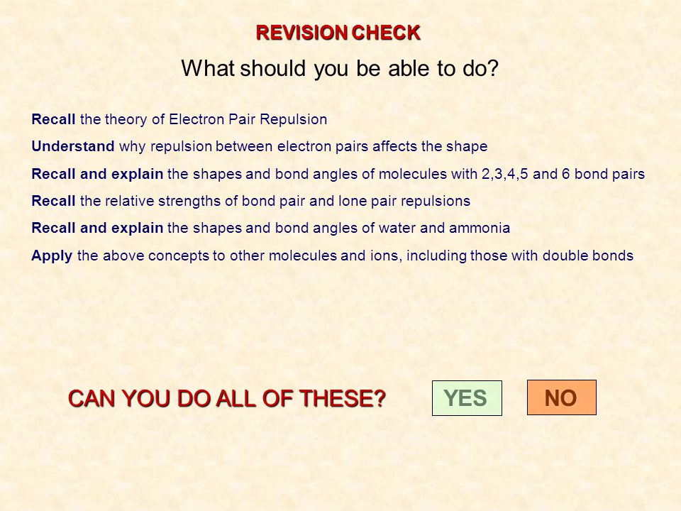 REVISION CHECK What should you be able to do? Recall the theory of Electron Pair Repulsion Understand why repulsion between electron pairs affects the
