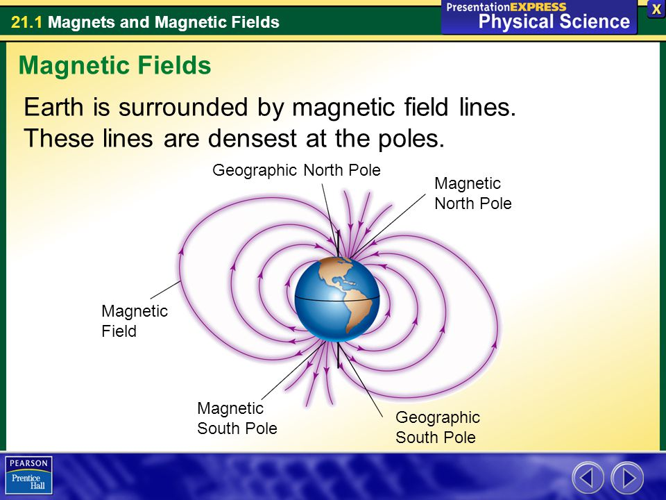 21.1 Magnets and Magnetic Fields Earth is surrounded by magnetic field lines. These lines are densest at the poles. Magnetic Fields Geographic North P