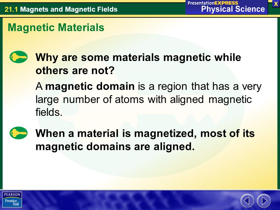 21.1 Magnets and Magnetic Fields Why are some materials magnetic while others are not? A magnetic domain is a region that has a very large number of a