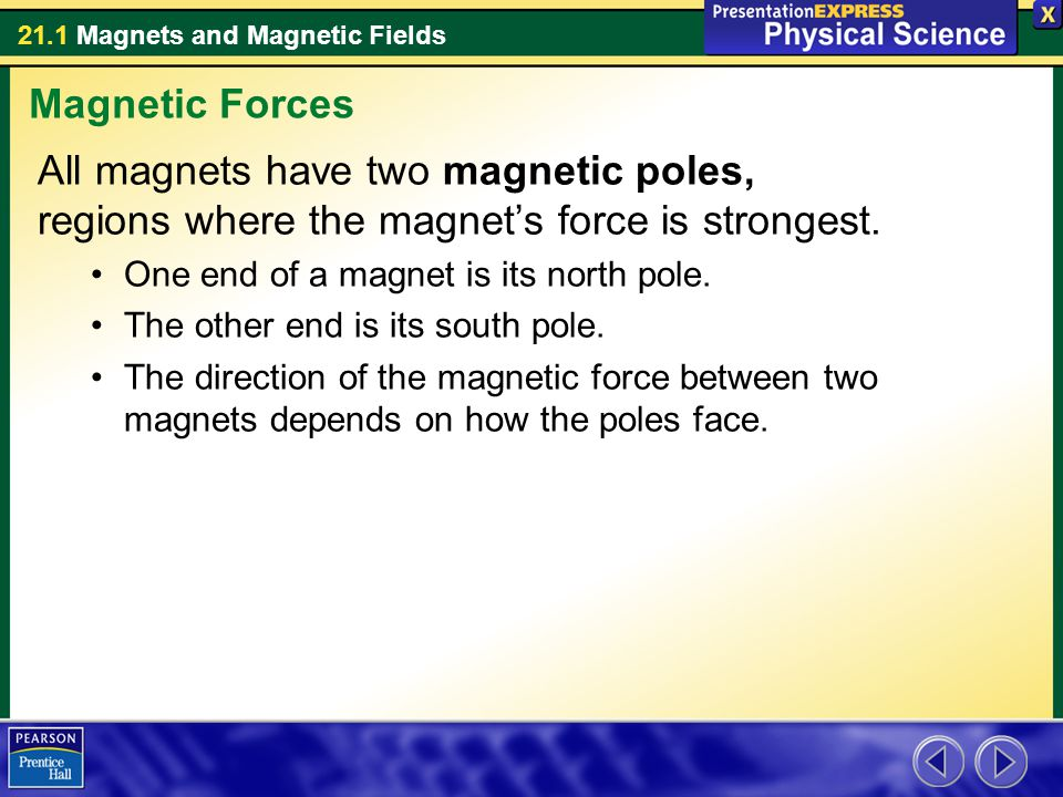 21.1 Magnets and Magnetic Fields All magnets have two magnetic poles, regions where the magnet's force is strongest. One end of a magnet is its north