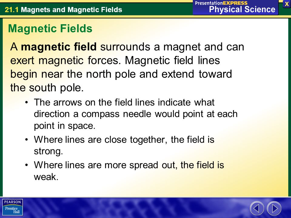 21.1 Magnets and Magnetic Fields A magnetic field can magnetize ferromagnetic materials.