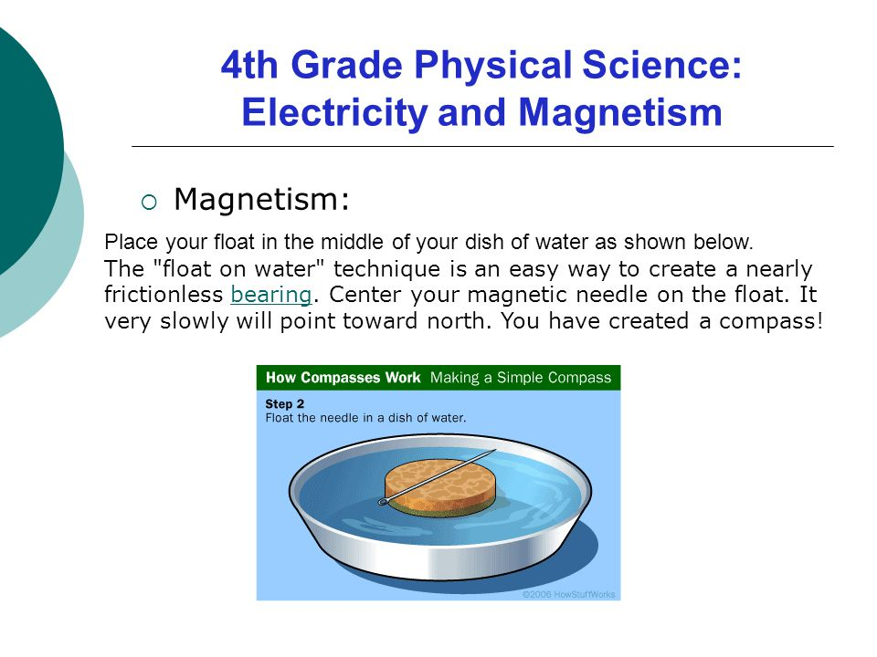  Magnetism: Place your float in the middle of your dish of water as shown below. The