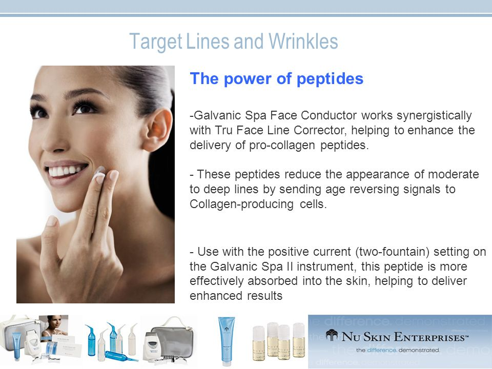 Target Lines and Wrinkles The power of peptides -Galvanic Spa Face Conductor works synergistically with Tru Face Line Corrector, helping to enhance the delivery of pro-collagen peptides.