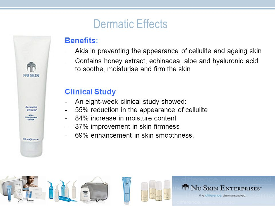 Dermatic Effects Benefits: - Aids in preventing the appearance of cellulite and ageing skin - Contains honey extract, echinacea, aloe and hyaluronic acid to soothe, moisturise and firm the skin Clinical Study -An eight-week clinical study showed: -55% reduction in the appearance of cellulite -84% increase in moisture content -37% improvement in skin firmness -69% enhancement in skin smoothness.