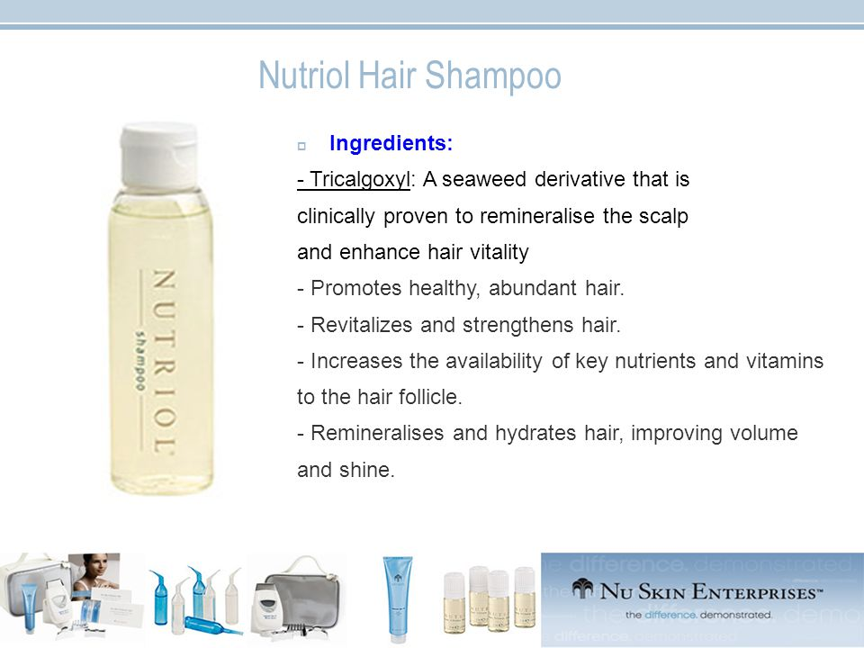 Nutriol Hair Shampoo  Ingredients: - Tricalgoxyl: A seaweed derivative that is clinically proven to remineralise the scalp and enhance hair vitality - Promotes healthy, abundant hair.
