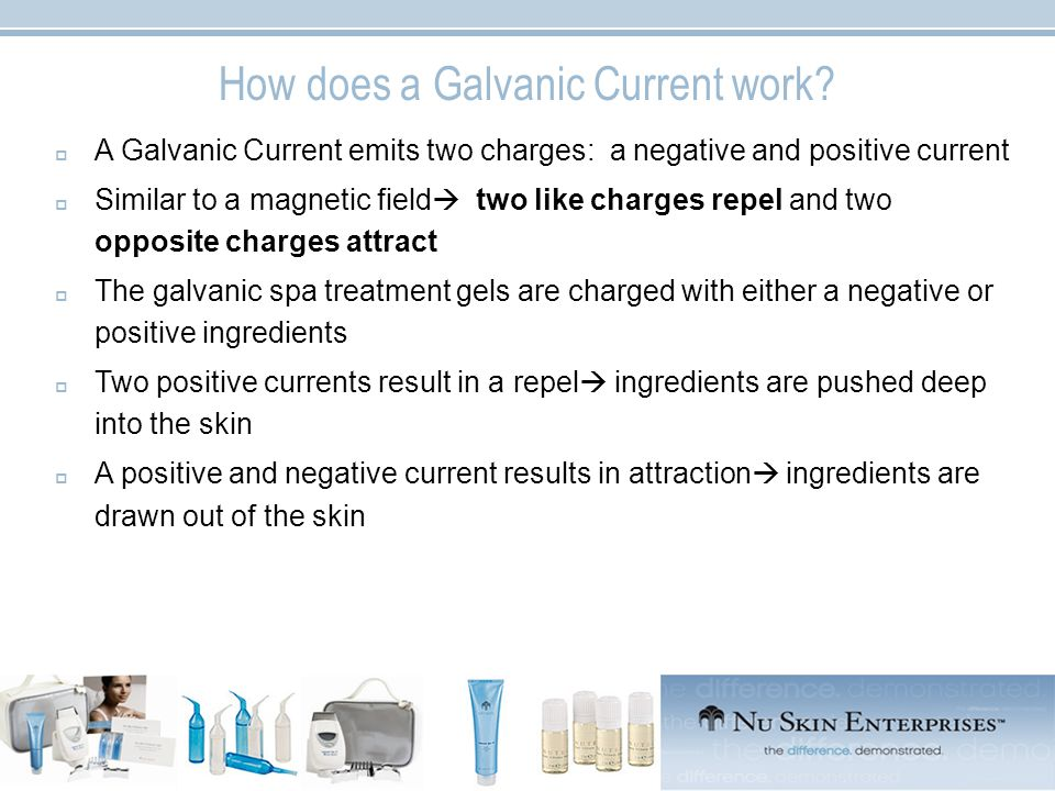 Galvanic Spa Products  Galvanic Spa Pre-Treatment Gels work to remove impurities and detox skin  Galvanic Spa Treatment Gels work to hydrate, refresh and re-energise  Tru Face Line Corrector pair with the Galvanic Spa works on eliminating lines and wrinkles  Galvanic Spa Body Shaping Gel & Dermatic Effects work to tone and get rid of the appearance of cellulite  Nutriol Hair Fitness & Shampoo work on thickening the hair and restoring shine