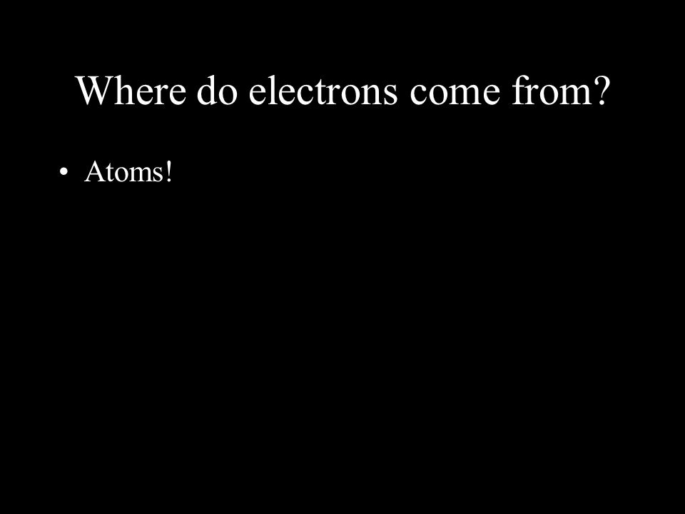 Where do electrons come from Atoms!