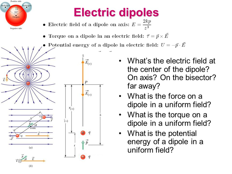 Electric dipoles What's the electric field at the center of the dipole? On axis? On the bisector? far away? What is the force on a dipole in a uniform