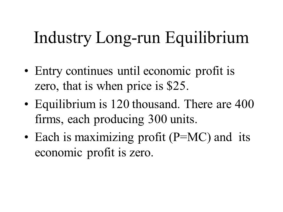 Industry Long-run Equilibrium Entry continues until economic profit is zero, that is when price is $25.