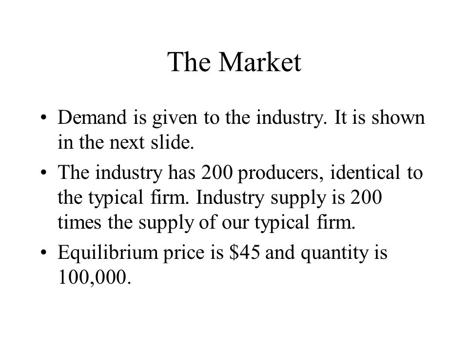 The Market Demand is given to the industry. It is shown in the next slide.