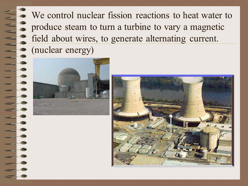 We control nuclear fission reactions to heat water to produce steam to turn a turbine to vary a magnetic field about wires, to generate alternating cu