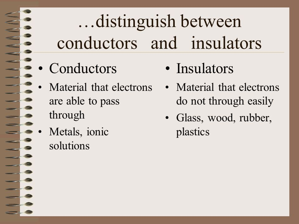 …distinguish between conductors and insulators Conductors Material that electrons are able to pass through Metals, ionic solutions Insulators Material