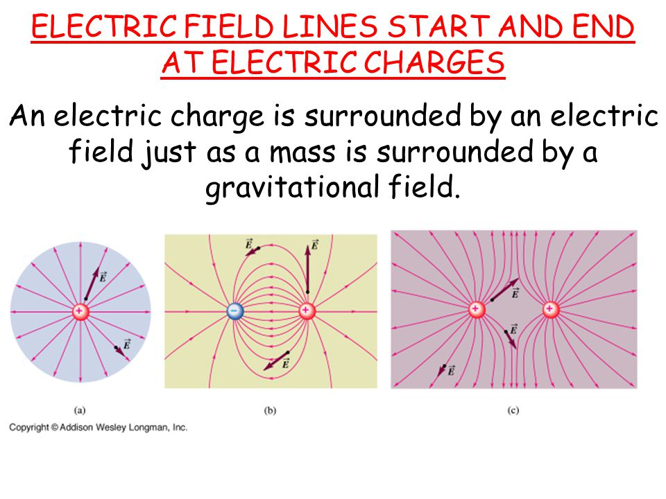 ELECTRIC FIELD LINES START AND END AT ELECTRIC CHARGES An electric charge is surrounded by an electric field just as a mass is surrounded by a gravitational field.
