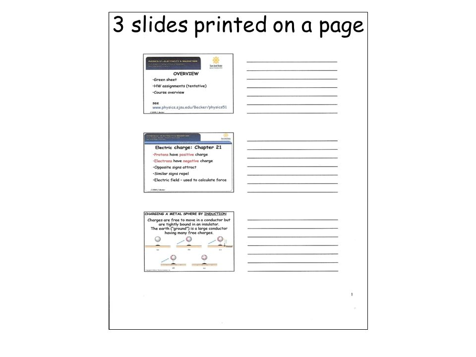 3 slides printed on a page
