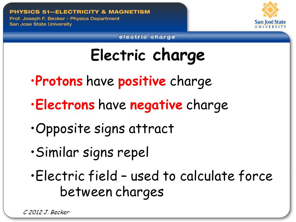 Electric charge Protons have positive charge Electrons have negative charge Opposite signs attract Similar signs repel Electric field – used to calculate force between charges C 2012 J.