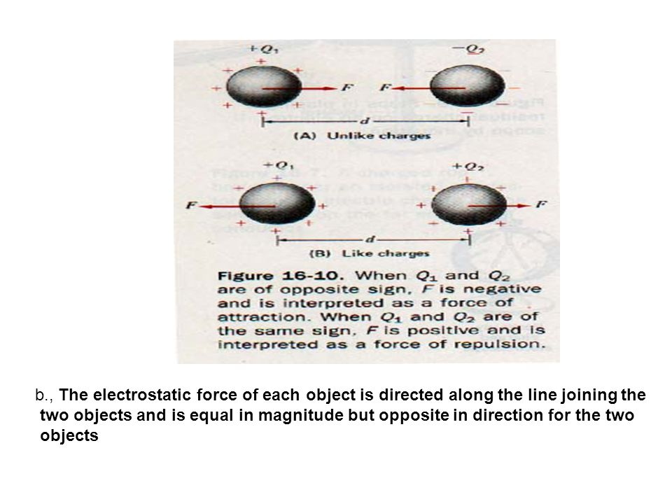 b., The electrostatic force of each object is directed along the line joining the two objects and is equal in magnitude but opposite in direction for