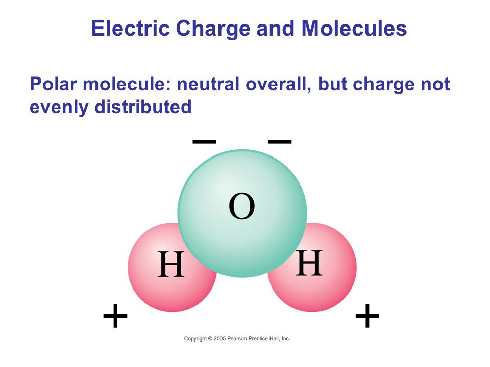 Electric Charge and Molecules Polar molecule: neutral overall, but charge not evenly distributed