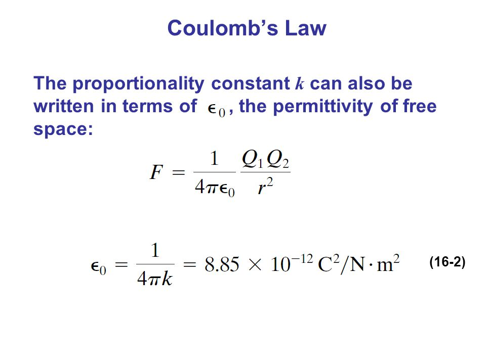 Coulomb's Law The proportionality constant k can also be written in terms of, the permittivity of free space: (16-2)