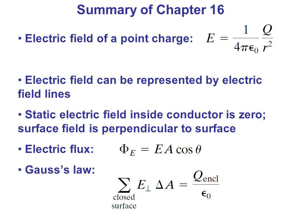 Summary of Chapter 16 Electric field of a point charge: Electric field can be represented by electric field lines Static electric field inside conductor is zero; surface field is perpendicular to surface Electric flux: Gauss's law: