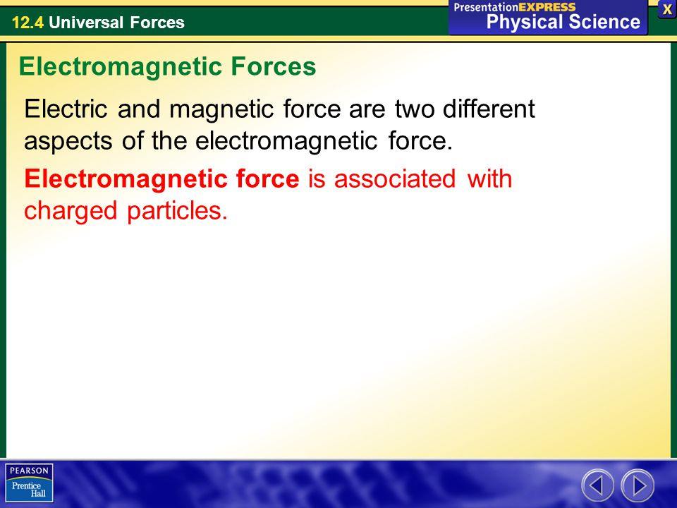 12.4 Universal Forces Electric and magnetic force are two different aspects of the electromagnetic force. Electromagnetic force is associated with cha