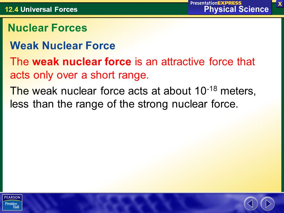 12.4 Universal Forces Weak Nuclear Force The weak nuclear force is an attractive force that acts only over a short range. The weak nuclear force acts