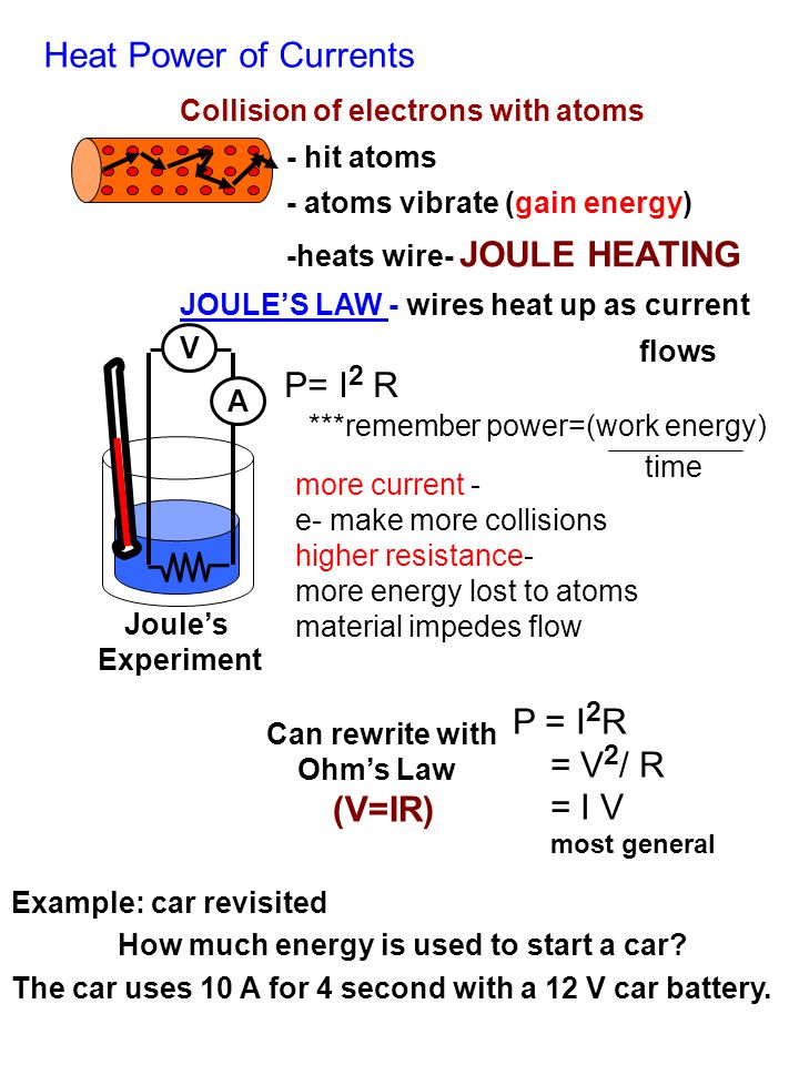 Heat Power of Currents Collision of electrons with atoms - hit atoms - atoms vibrate (gain energy) -heats wire- JOULE HEATING JOULE'S LAW - wires heat