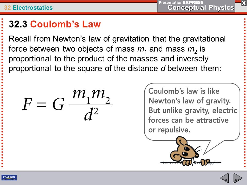 32 Electrostatics Recall from Newton's law of gravitation that the gravitational force between two objects of mass m 1 and mass m 2 is proportional to