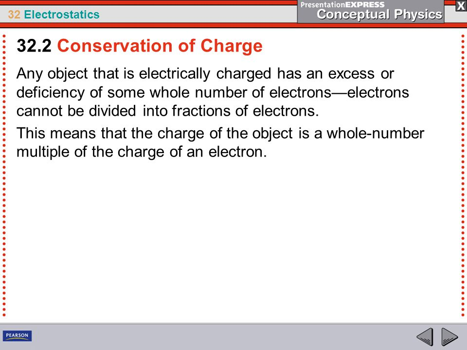 32 Electrostatics Any object that is electrically charged has an excess or deficiency of some whole number of electrons—electrons cannot be divided in