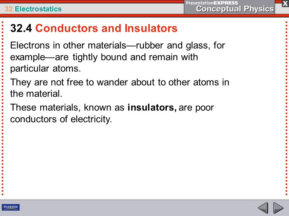 32 Electrostatics Electrons in other materials—rubber and glass, for example—are tightly bound and remain with particular atoms. They are not free to
