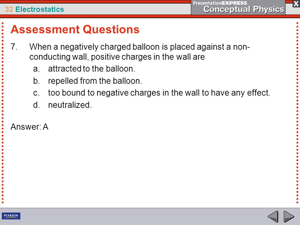 32 Electrostatics 7.When a negatively charged balloon is placed against a non- conducting wall, positive charges in the wall are a.attracted to the ba