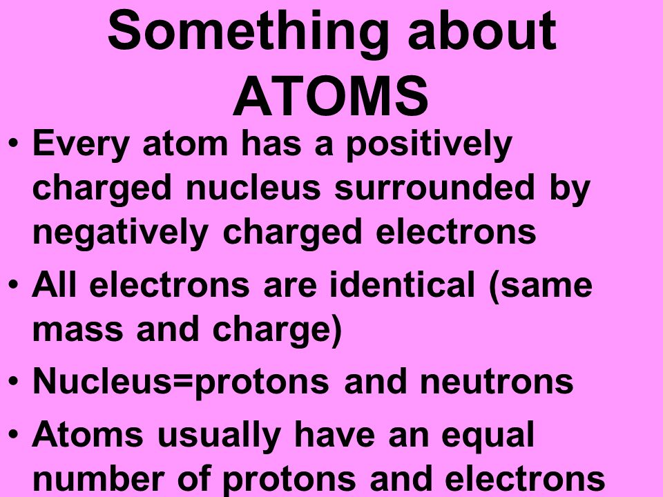 Charge Electrons are negatively charged Protons are positively charged The attracting and repelling is due to something called charge LIKE CHARGES REPEL OPPOSITE CHARGES ATTRACT