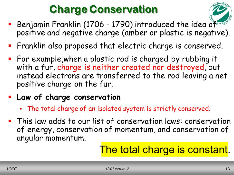 1/9/07184 Lecture 213 Charge Conservation  Benjamin Franklin (1706 - 1790) introduced the idea of positive and negative charge (amber or plastic is negative).
