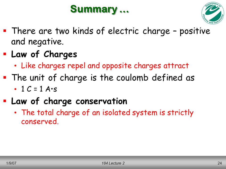 1/9/07184 Lecture 224 Summary …  There are two kinds of electric charge – positive and negative.