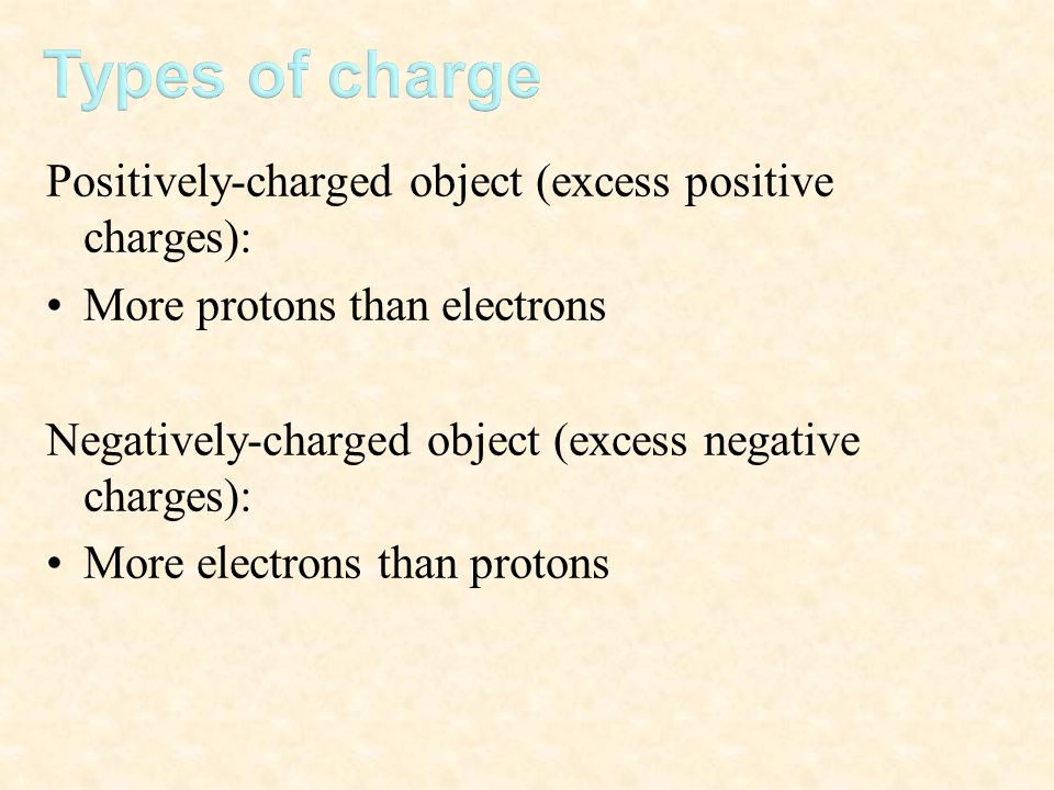 Positively-charged object (excess positive charges): More protons than electrons Negatively-charged object (excess negative charges): More electrons t