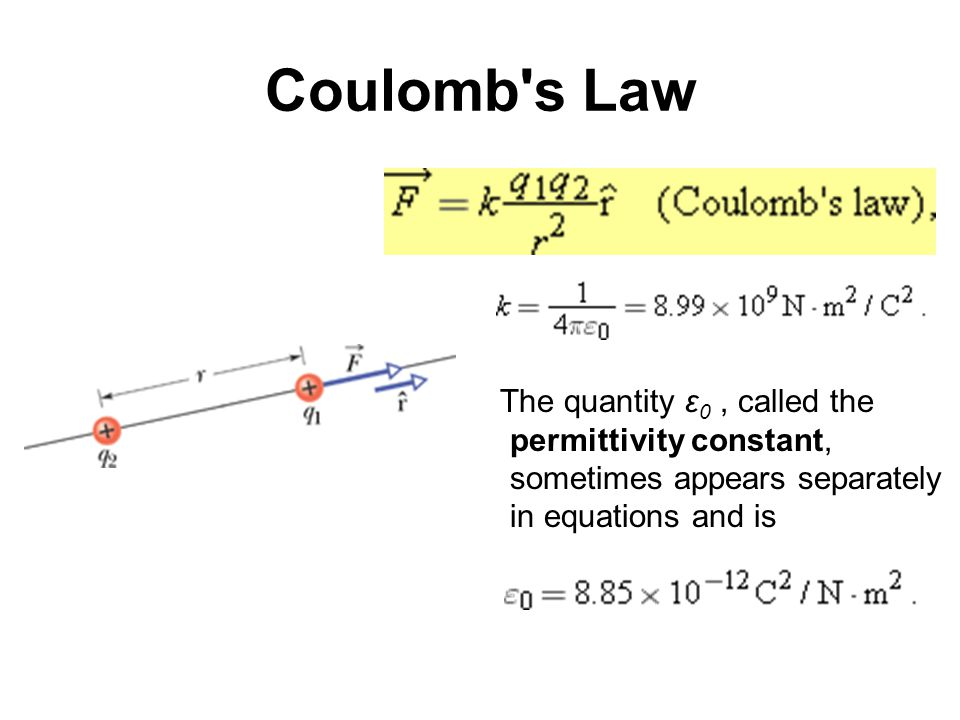 Coulomb's Law The quantity ε 0, called the permittivity constant, sometimes appears separately in equations and is