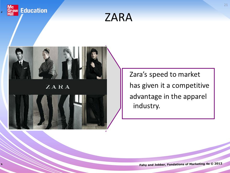 21 ZARA Zara's speed to market has given it a competitive advantage in the apparel industry.